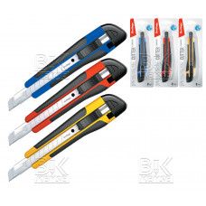 "Нож канцелярский 9мм Berlingo ""Comfort"" auto-lock, металл. направл. мягкие вставки, BM4114"