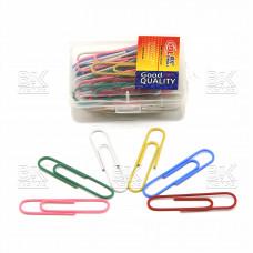 Скрепки цветные 50мм DINGLI в пластик.упак. европодвес DL260