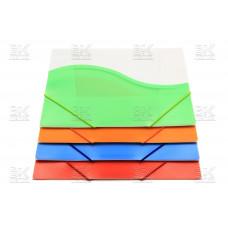 Папка на резинке прозрачно- цветная нов 988