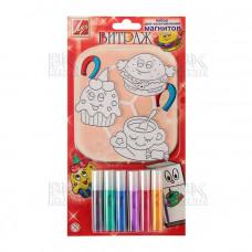 Краски набор по стеклу Витраж 6цв с декоративными подвесками+магнит (Луч)