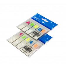 Закладки клейкие пластиковые 20л 12х45мм (ABCDE/12345) P01-1 JinXin