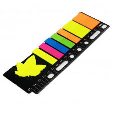 Закладки клейкие пластиковые 5цв 12х45мм + 2цв 25х45мм с линейкой P16-1 JinXin