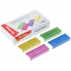 Скобы для степлера 24/6 Berlingo цветные 710