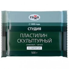 """Пластилин скульптурный Гамма """"Студия"""", оливковый, мягкий, 500г, пакет 2.80.Е050.004"""