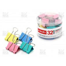 Зажим 32мм DINGLI  24шт  цвет пласт тубус 6073
