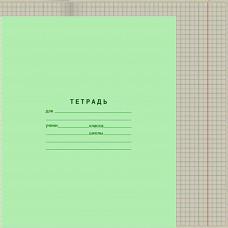 Тетрадь 12л, школьная зеленая сер, клет, СЛК  к/400 шт