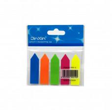 Закладки клейкие пластиковые 5цв 20л 12х45мм стрелки P01-2 JinXin